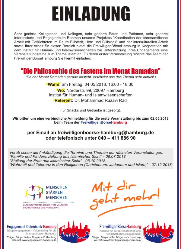 Einladung Die Philosophie des Fastens im Monat Ramadan